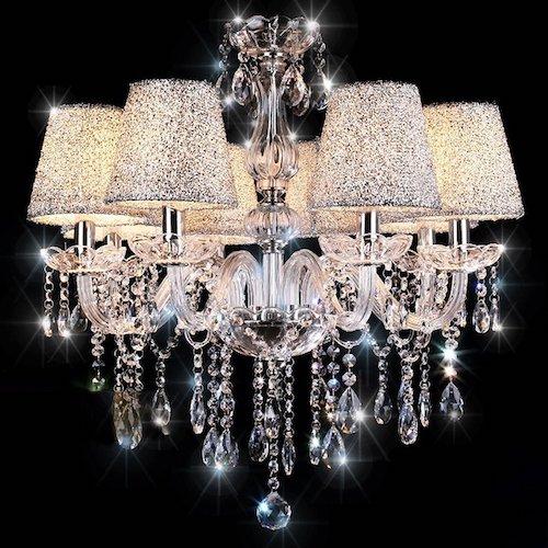 Lámpara de techo adornada de cristal